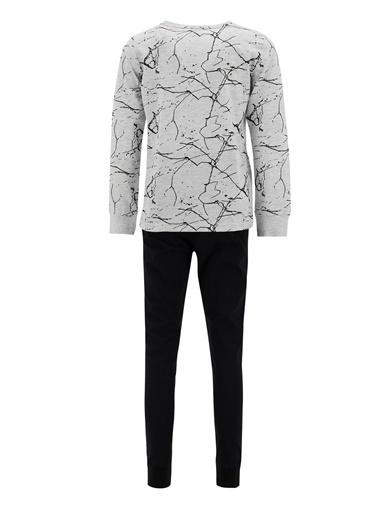 DeFacto Erkek Çocuk Sıçratma Desenli Uzun Kol Pijama Takımı Gri